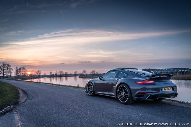 A Porsche 911 Turbo S while the sun is going under at Abcoude The Netherlands