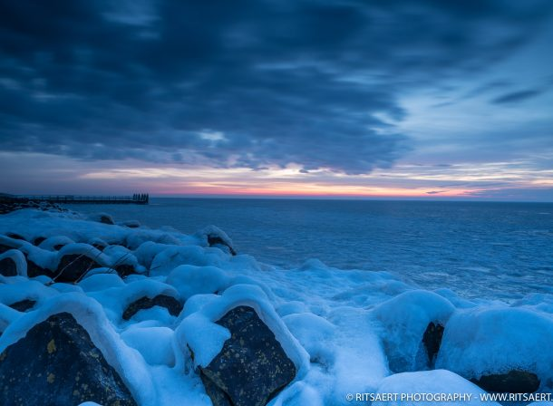 A nice image of a cold winter sunrise at the Afsluitdijk Holland