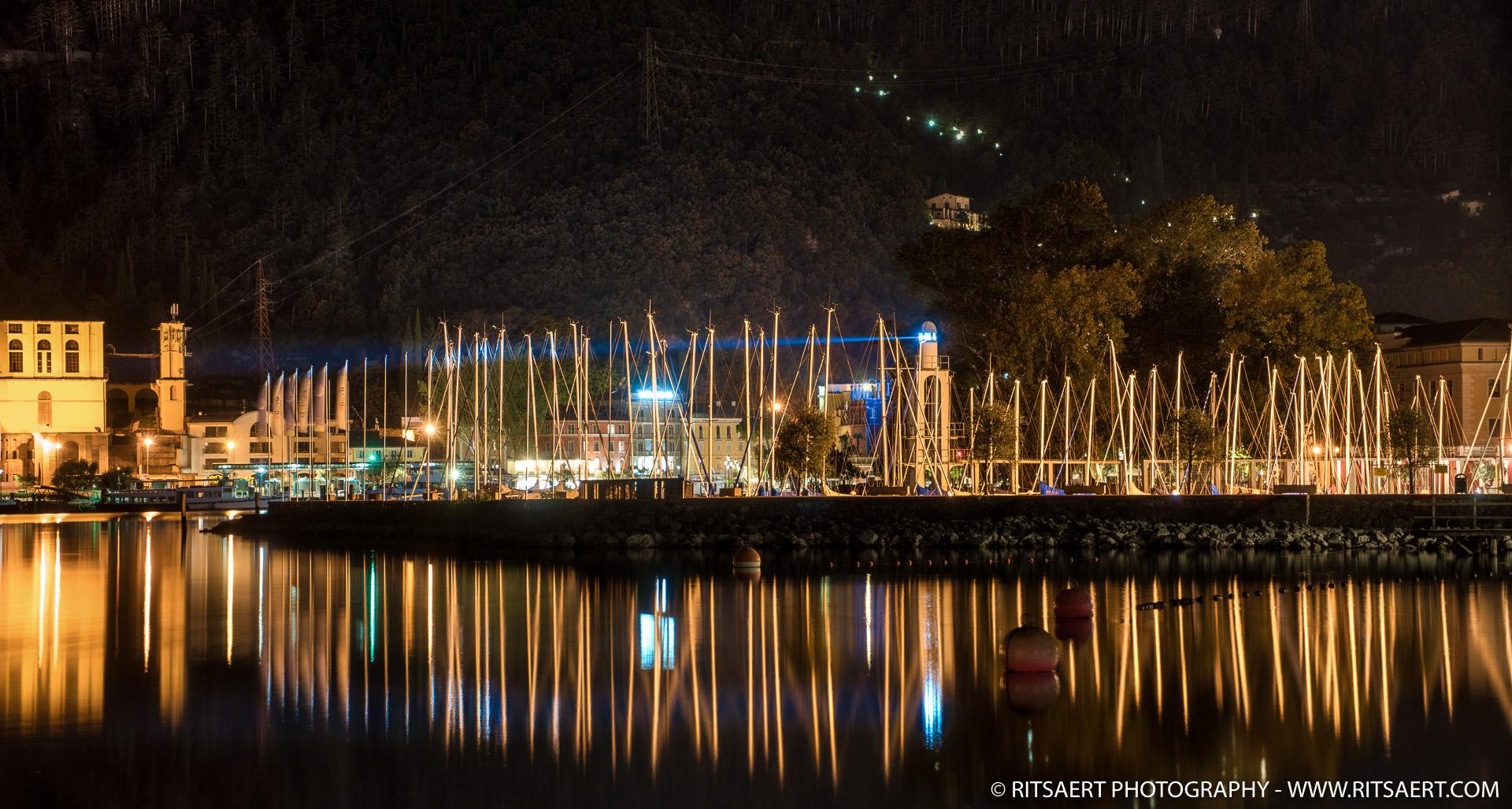 Harbor at night in Riva del Garda - Italy